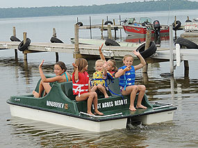 Kids riding on on a paddleboat